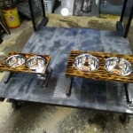 Custom welded dog dish stand