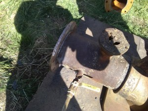 New flange welded on irrigation pump.