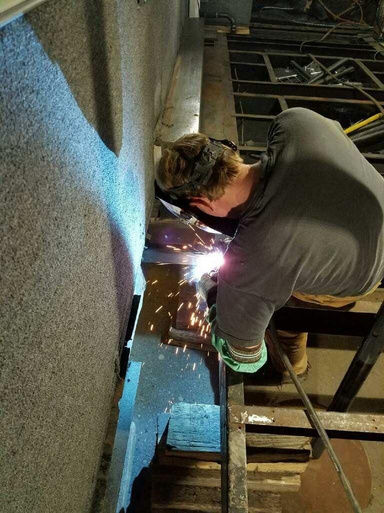 Welding new floor supports.