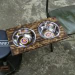 Custom finish top for dog dish stand