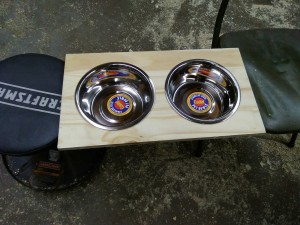 Custom top for dog dish stand